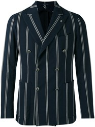 Tagliatore Striped Blazer Men Cotton Polyamide Cupro 50 Blue