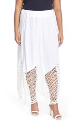 Plus Size Women's Xcvi 'Lauryn' Lace Border Midi Skirt White