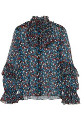 Anna Sui Fruits And Florals Ditsy Daze Floral Print Silk Chiffon Blouse Blue