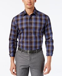 Tasso Elba Men's Plaid Long Sleeve Shirt Classic Fit Brown Combo