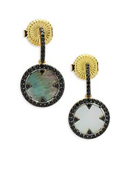 Freida Rothman Crystal Mother Of Pearl And Sterling Silver Round Slice Dangle And Drop Earrings No Color