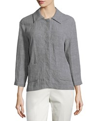 Lafayette 148 New York Linen High Low Topper Jacket Rock
