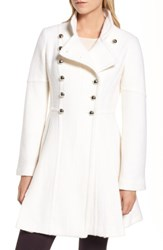 Guess Women's Double Breasted Fit And Flare Coat White