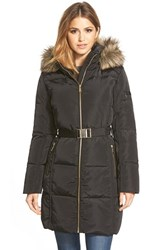 Women's Michael Michael Kors Faux Fur Trim Belted Down And Feather Fill Parka Black