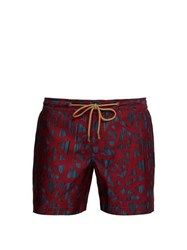 Thorsun Shatter Print Titan Fit Swim Shorts Red
