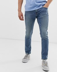 Pull And Bear Slim Jeans In Blue Blue