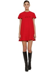 Red Valentino Ruffled Crepe Envers Dress Red