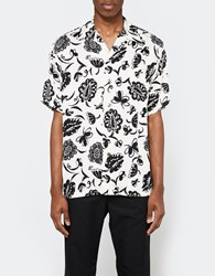 Junya Watanabe Rayon Satin Print Ss Button Up White Black