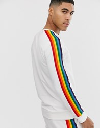 Only And Sons Rainbow Taped Sleeve Crew Neck Sweat In White