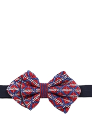 Jupe By Jackie Hand Embroidered Silk Bow Tie Navy Red
