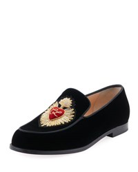 Christian Louboutin Perou Corazon Velvet Red Sole Loafer Black