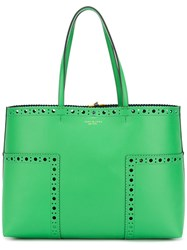 Tory Burch Brogued Detail Tote Bag Women Leather One Size Green