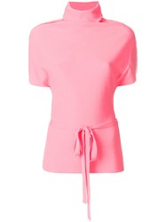 Unconditional Belted Shortsleeved Sweater Pink And Purple