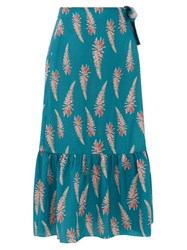Adriana Degreas Aloe Print Silk Crepe Wrap Midi Skirt Blue Print
