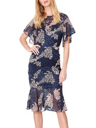 Damsel In A Dress Jamil Lace Fluted Sleeve Pink Navy