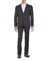 Hugo Two Button Wool Plaid Suit Dark Grey