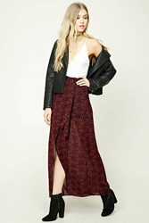 Forever 21 Abstract Tulip Maxi Skirt Burgundy Tan