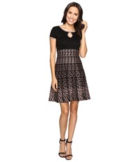 Christin Michaels Saida Short Sleeve Sweater Dress With Keyhole Black Tan Women's Dress