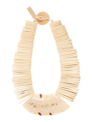Max Mara Gamma Stacked Necklace With Large Front Piece White