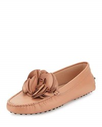 Tod's Flower Gommini Driving Flat Blush
