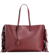 Saint Laurent Fringed Leather Shopper Purple