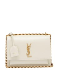 Saint Laurent Sunset Medium Leather Cross Body Bag White