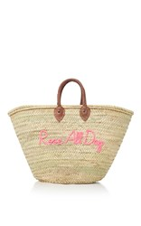 Poolside Shorty Embroidered Straw Tote Pink