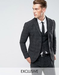 Only And Sons Slim Suit Jacket In Check Fleck Phantom Grey