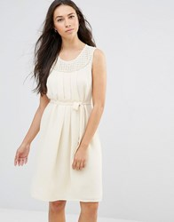 Lavand Tie Waist Sleeveless Dress In White Cream