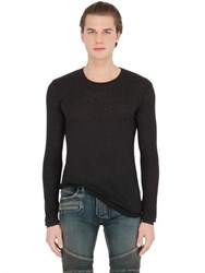 Balmain Linen Long Sleeve T Shirt