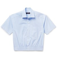 Balenciaga Cropped Striped Cotton Poplin Shirt Light Blue