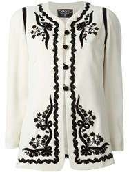 Chanel Vintage Embroidered Jacket Nude And Neutrals