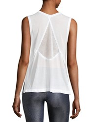 Koral Pivot Crewneck Sleeveless Mesh Back Top White