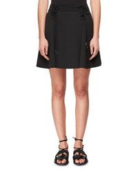 Carven Lace Up Flared Stretch Crepe Mini Skirt Noir