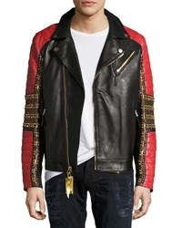 Robin's Jeans Embellished Leather Motorcycle Jacket Black Red
