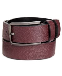 Calvin Klein Men's Two Loop Dress Belt Oxblood W Brushed Gunmetal Oxb