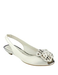 Anne Klein Farrah Peep Toe Leather Slingbacks Ivory