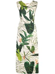 Osklen Leaf Printed Midi Dress Green