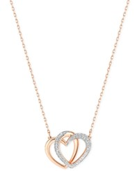 Swarovski Rose Gold Tone Crystal Pave Interlocking Double Heart Pendant Necklace