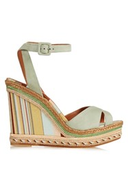 Valentino Native Couture 1975 Print Suede Wedge Sandals