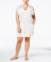Calvin Klein Plus Size Crochet Trim Cover Up Women's Swimsuit Milk