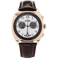 Vivienne Westwood Hampstead Chronograph Leather Strap Watch Brown One Colour