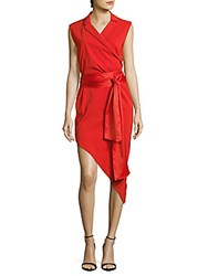 Baja East Solid Asymmetrical Wrap Dress Coral