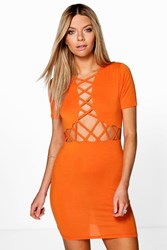 Boohoo Lattice Cut Out Bodycon Dress Orange
