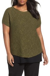 Eileen Fisher Plus Size Women's Organic Linen And Cotton Rib Sweater Olive