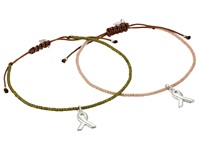 Chan Luu 2 Pack Friendship Bracelet With Breast Cancer Ribbon Charm Pink Mix Charms Bracelet