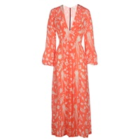 Rixo Camellia Dress In Coral Print