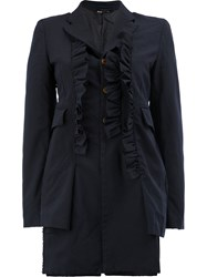 Comme Des Garcons Ruffle Trim Long Jacket Women Polyester Xs Black