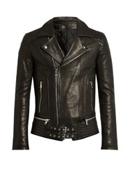 Balmain Quilted Panel Leather Biker Jacket Black