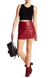 Jolt Faux Leather Mini Skirt Red